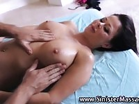 Busty naked babe gets a rough massage